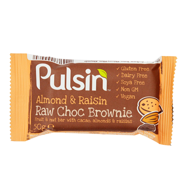 Pulsin´ Almond & Raisin Raw Choc Brownie - 50 gram