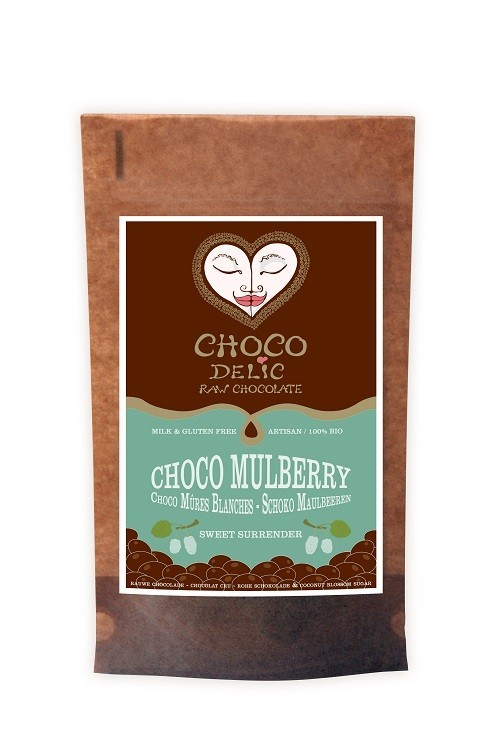 CHOCOdelic Moerbeibessen omhuld met rauwe chocolade - 70 Gram