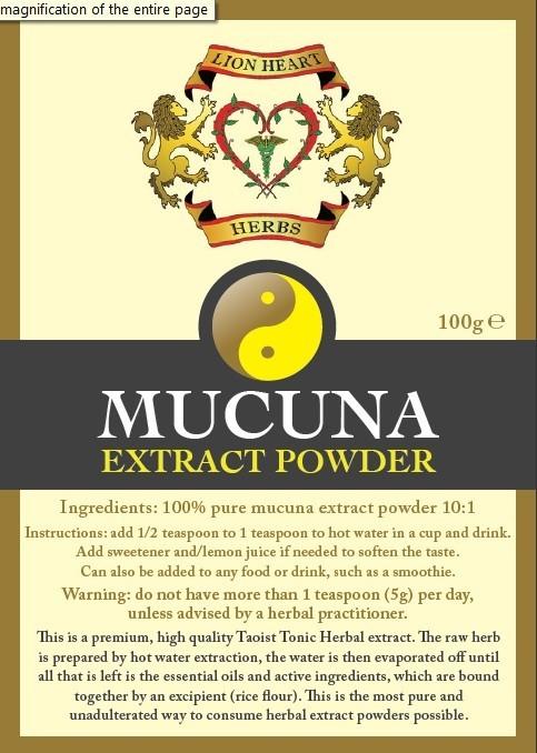 Mucuna Pruriens Extract, Lion Heart Herbs - 100 gram
