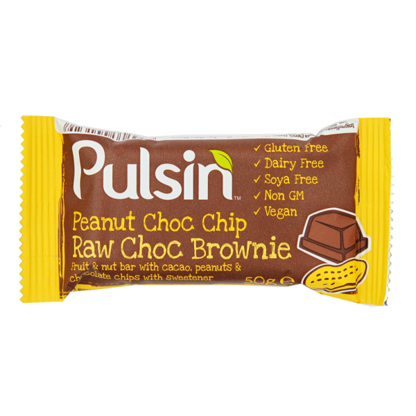 Pulsin´ Peanut Choc Chip Raw Choc Brownie - 50 gram