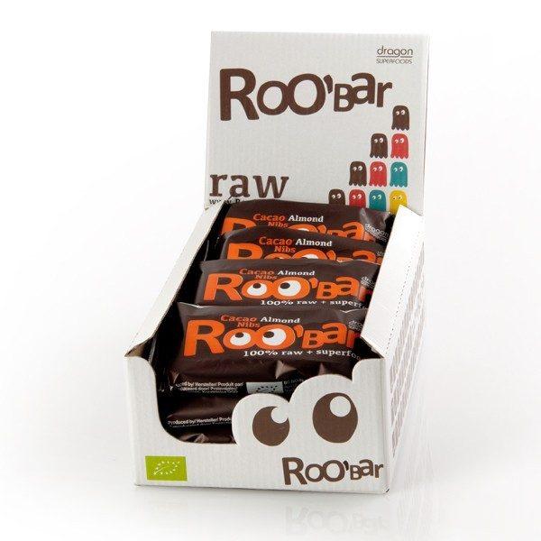 RooBar Cacao Nibs & Amandelen - 50 gram - doos 16 stuks